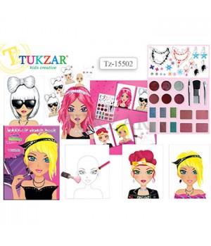 Альбом для творчества Tukzar Юный визажист 19*24см, с наклейками и косметикой