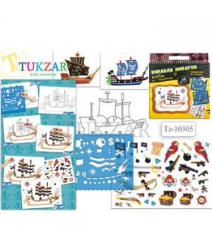 Альбом для творчества Tukzar Пиратский корабль 24*26см с трафаретами и наклейками