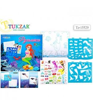 Альбом для творчества Tukzar Русалочка 24*26см с трафаретами и наклейками