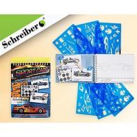 Альбом для творчества Schreiber Super cars 14*20см с трафаретами и наклейками