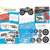 Альбом для творчества Tukzar Автогонки 24*26см с трафаретами и наклейками