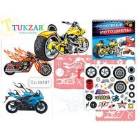 Альбом для творчества Tukzar Гоночные мотоциклы 24*26см с трафаретами и наклейками