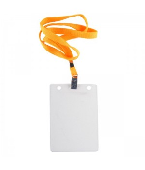 Бейдж 87*120мм верт на метал клипе и тесьма желт 1065.ВК-112