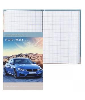 Книжка записная А7 (75*105) 48л тв обл 7Бц Синее авто и горы глянц лам 48-4601
