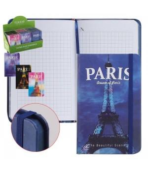 Книжка записная А7 (90*140) 96л тв обл 7Бц PARIS на резин ляссе мат лам цветн срез TZ 3292 ассорти 4 вида