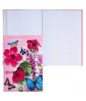 Книжка записная А6 (105*148) 80л интегр обл Букет и бабочки глянц лам 80-5239