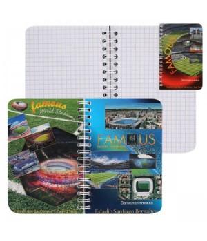 Книжка записная А6 (95*145) 80л дв спир обл мягк карт Стадионы с 2-мя облож глянц лам С1226-13