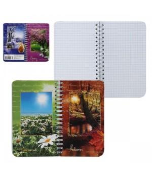 Книжка записная А6 (95*145) 80л дв спир обл мягк карт Времена года с 2-мя облож глянц лам С1226-12