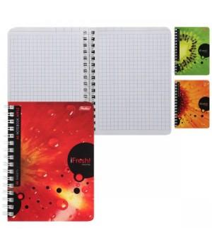 Книжка записная А6 (105*145) 80л дв спир обл мягк карт iFRESH лак 80ЗК6B1гр ассорти 3 вида