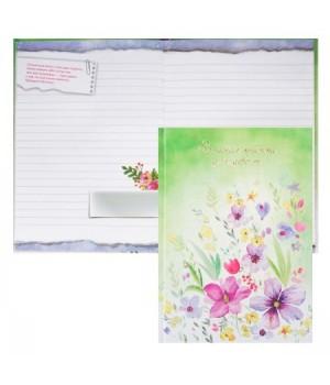 Книжка записная д/девочек А5 (145*205) 48л тв обл 7Бц Нежные цветы глянц лам тисн фольг 47224