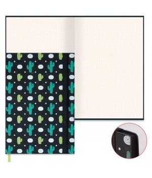 Книжка записная А5 (145*210) 96л к/з Замша черная на резинке тонир ляссе черн срез 47490