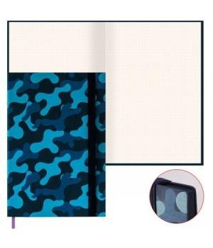 Книжка записная А5 (145*210) 96л к/з Замша синяя на резинке тонир ляссе син срез 47492