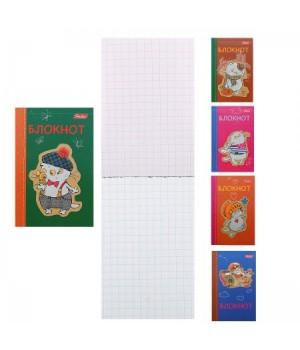 Блокнот А7 (65*100) 48л склейка обл мягк карт Кот Басик глянц лам 48Б7В1к ассорти 5 видов