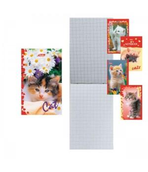 Блокнот А7 (65*100) 48л склейка обл мягк карт Котята глянц лам 48Б7В1к ассорти 5 видов