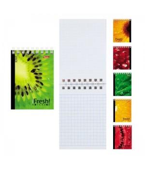 Блокнот А7 (75*105) 40л дв спир обл мягк карт iFRESH перф 40Б7Вгр ассорти 6 видов
