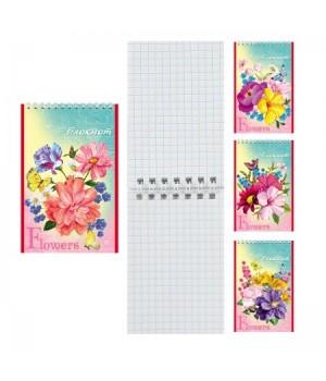 Блокнот А7 (65*100) 40л дв спир обл мягк карт Букет цветов Б40-7755