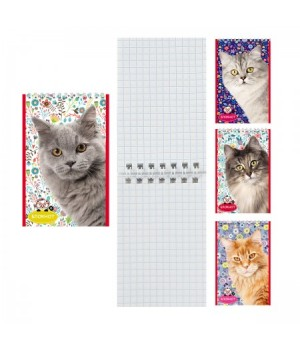 Блокнот А7 (65*100) 40л дв спир обл мягк карт Кошки Б40-7757