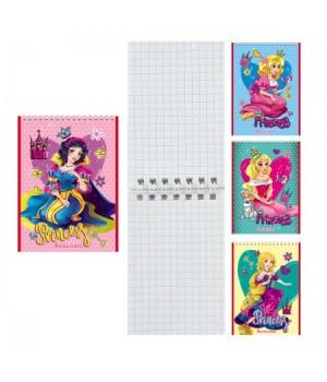 Блокнот А7 (65*100) 40л дв спир обл мягк карт Принцессы Б40-7753
