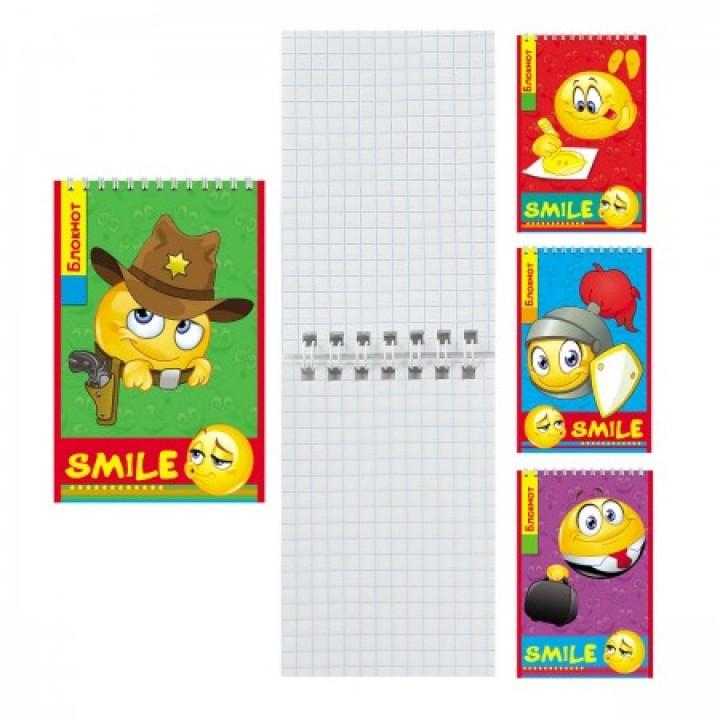 Блокнот А7 (65*100) 40л дв спир обл мягк карт Смайлики Б40-7754