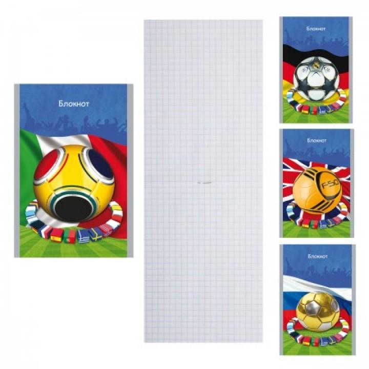 Блокнот А6 (100*140) 24л обл мягк карт Футбольные страсти Б24-3814 ассорти 4 вида