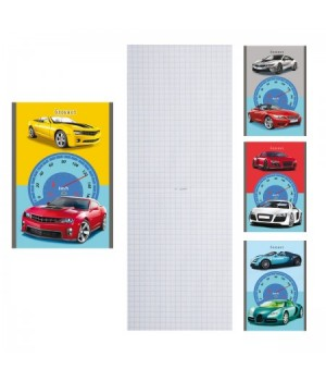 Блокнот А6 (100*140) 32л скоба обл мягк карт Автоколлаж Б32-4406 ассорти 4 вида