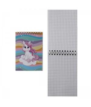 Блокнот А6 (100*145) 40л дв спир обл мягк карт Единорог 3 166525