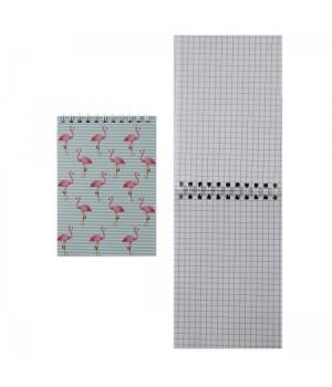 Блокнот А6 (100*145) 40л дв спир обл мягк карт Фламинго 164049