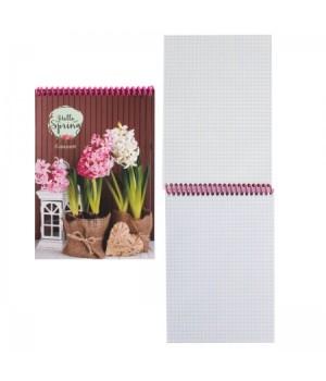 Блокнот А5 (140*200) 48л спир обл мягк карт Весенние цветы Б48-1626
