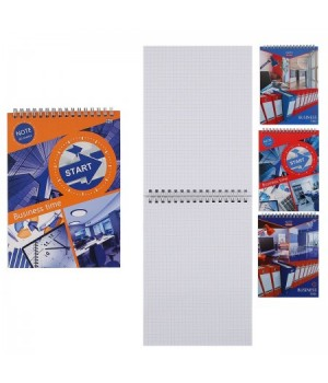 Блокнот А5 (147*200) 80л дв спир обл мягк карт Business Time Б5гр80 4527 ассорти 4 вида