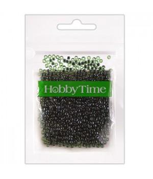 Бисер Hobby Time круглый люминесцентный 2мм 10гр №21 темно-зеленый, пакет, европодвес