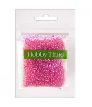 Бисер Hobby Time круглый люминесцентный 2мм 10гр №3 фуксия, пакет, европодвес
