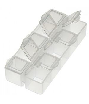 Контейнер Hobby Time пластиковый, секционный с защелкивающимися крышками, для бисера, 9*4*2см