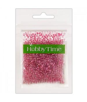 Бисер Hobby Time круглый люминесцентный 2мм 10гр №6 малиновый, пакет, европодвес