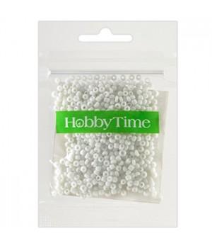 Бисер Hobby Time круглый матовый непрозрачный 2мм 10гр №1 белый, пакет, европодвес