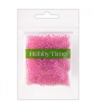Бисер Hobby Time круглый люминесцентный 2мм 10гр №14 розовый, пакет, европодвес