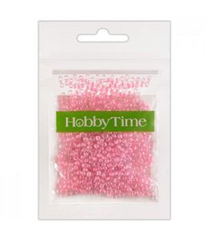 Бисер Hobby Time круглый люминесцентный 2мм 10гр №15 нежно-розовый, пакет, европодвес