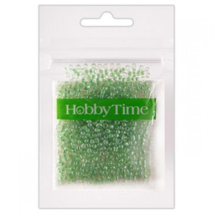 Бисер Hobby Time круглый люминесцентный 2мм 10гр №1 белый, пакет, европодвес