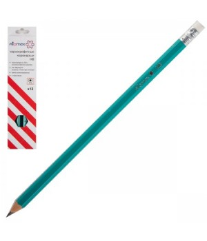 Карандаш НВ пласт заточ с ласт Attomex шестигран 5032601 к/к
