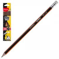 Карандаш 2В дерев заточ с ласт Black pep's Maped трехгран 851722 к/к