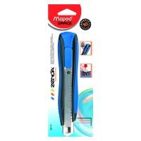 ZENOA Нож канцелярский 18мм, с металлической направляющей, обрезиненный корпус, с автоматическим фиксатором лезвия, гарантия 10 лет