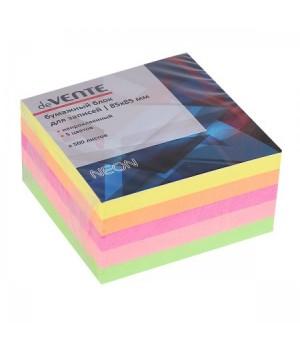 Бумага для заметок 8,5*8,5*5 куб 5цв неон 500л deVENTE 2012702 не скл