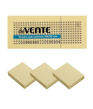 Бумага для заметок самокл 40*50 100л 3шт deVENTE 2010304 желт