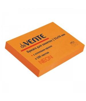 Бумага для заметок самокл 50*75 100л deVENTE 2010315 неон оранж