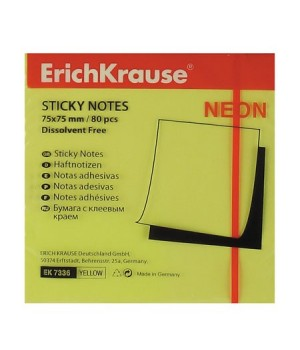 Бумага для заметок самокл 75*75 80л ЕК 7336 неон желт
