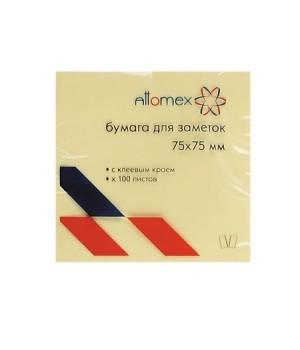 Бумага для заметок самокл 75*75 100л Attomex 2010303 желт