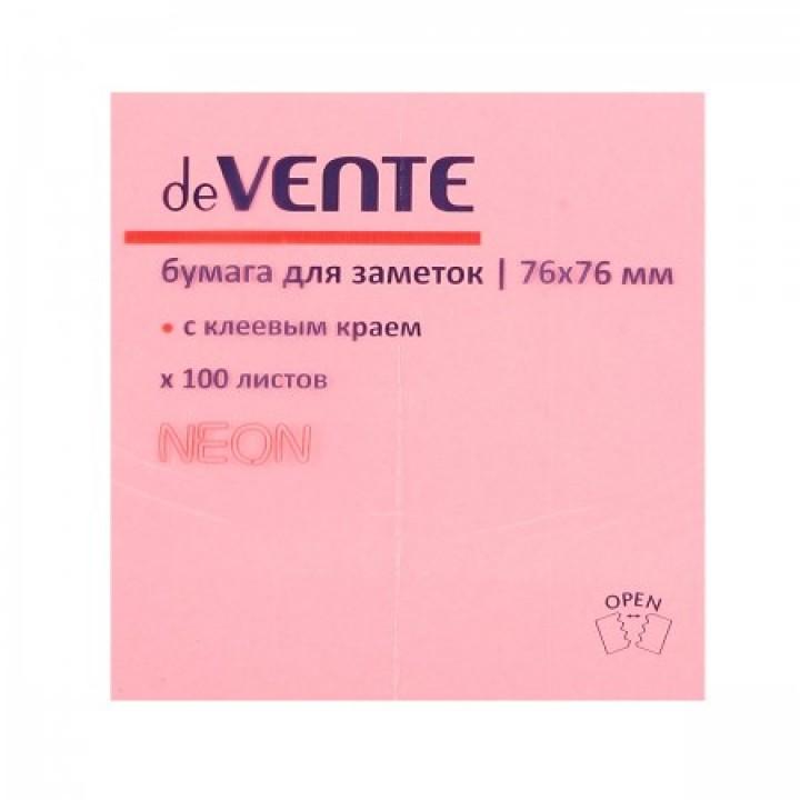 Бумага для заметок самокл 76*76 100л deVENTE 2010331 неон малин
