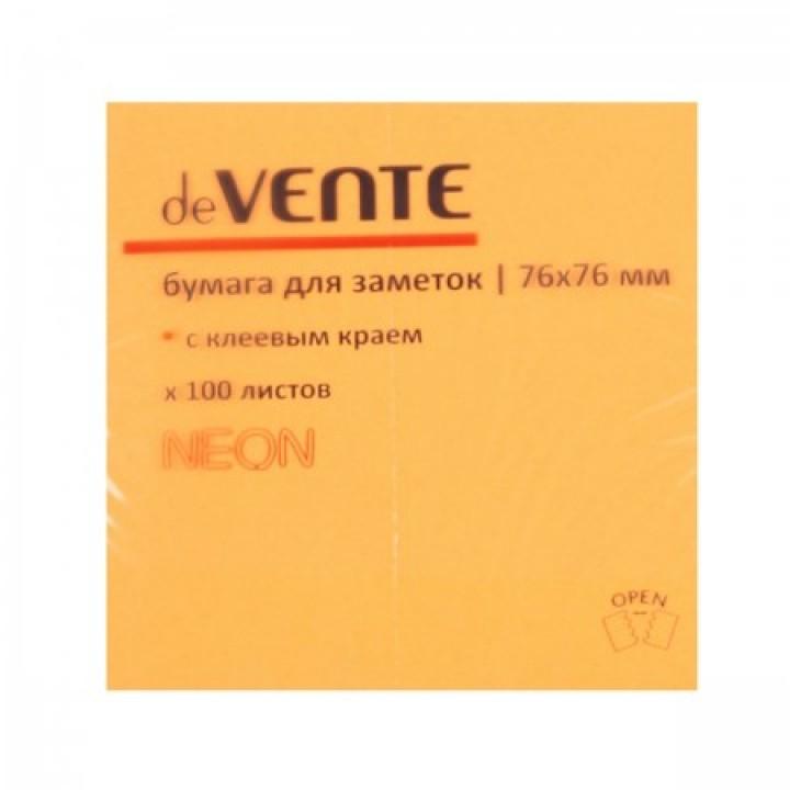 Бумага для заметок самокл 76*76 100л deVENTE 2010332 неон оранж