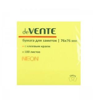 Бумага для заметок самокл 76*76 100л deVENTE 2010329 неон желт