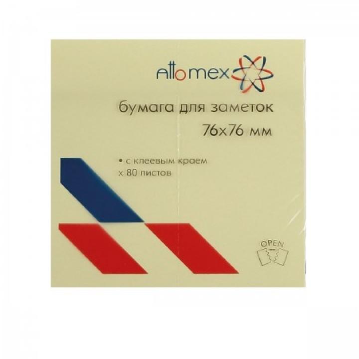 Бумага для заметок самокл 76*76 80л Attomex 2010701желт