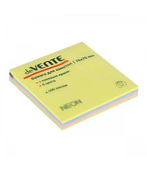 Бумага для заметок самокл 76*76 100л deVENTE 2010719 4 неон цвета